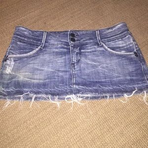 Bebe cute destroyed denim jean mini skirt